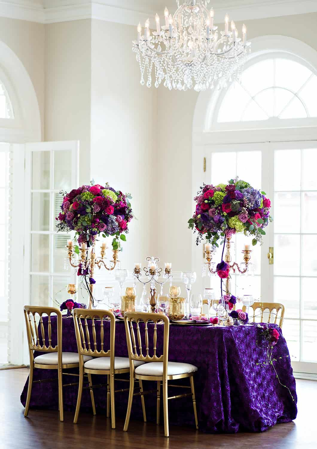 Separk Mansion wedding u2013 purple gold table setting : ala carte table setting - pezcame.com