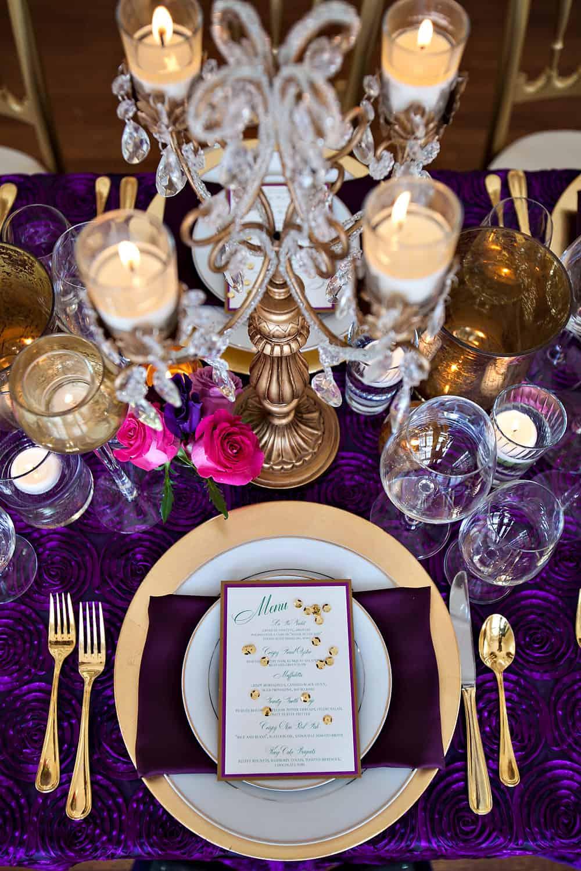 Separk Mansion wedding table setting purple gold