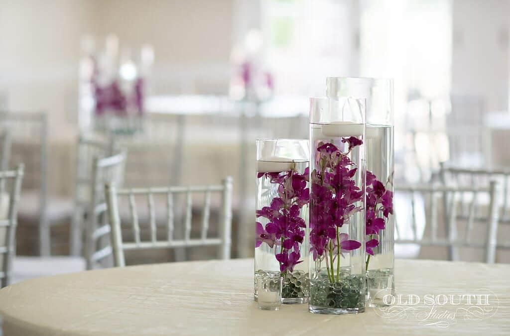 Purple Wedding Centerpieces at Charlotte Wedding Venue | Separk Mansion Wedding